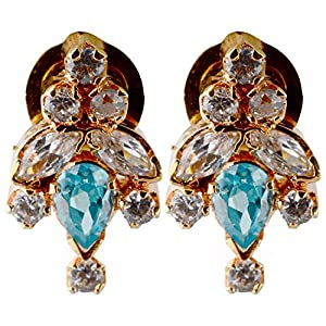 Pearl Paradise Blue & White Cz Earring For Women.