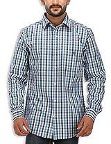 SPEAK Men's Blue Checkered Cotton Casual Shirt
