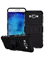 Kavacha Flip Kick Stand Spider Hard Dual Rugged Armor Hybrid Bumper Back Case Cover For Samsung Galaxy A8 - Rugged Black