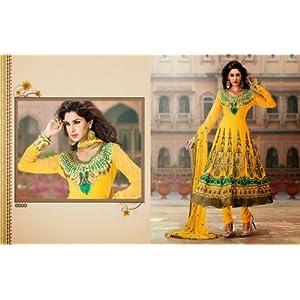 Yellow & Green Georgette, Crepe & Chiffon with Zari Embroidery, Diamond Hand Work, Lace Border Work Unstitched Anarkali Salwar Kameez Suit