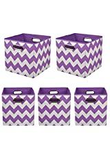 Modern Littles Organization Bundle Storage Bins, Color Pop Purple Chevron, 5 Count