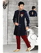 Exotic Navy Blue Velvet Men`S Wear