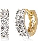 Ava American Diamond Hoop Earrings for Women (Gold) (E-B-CPE1148)