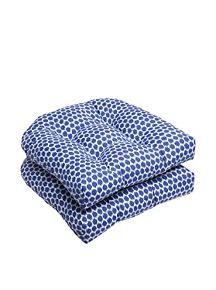 Pillow Perfect Set of 2 Outdoor Seeing Spots Wicker Seat Cushions, Navy