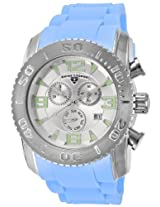 Men'S Commander Chronograph Silver Dial Light Blue Silicone (10067-02S-Bbls)