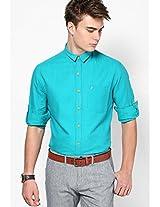 Aqua Blue Casual Shirt (Trim Fit)