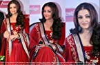Aishwarya Rai, Pure Red, Chiffon Lehenga Saree Tm20