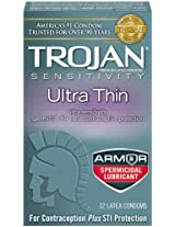 Trojan Condom Sensitivity Ultra Thin Spermicidal, 12 Count