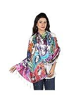 Etoles Digital Print Hey Girls Cotton Chanderi Multi-Color Stole for Women
