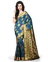 Utsav Fashion Women's Dark Teal Blue Pure Kollam Silk and Cotton Saree with Blouse