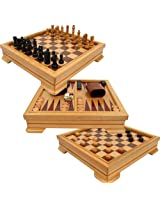 Deluxe 7-in-1 Game Set - Chess - Backgammon etc Brown