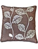 Decorative Silver Leaves Embroidery with Piping Floral Throw Pillow COVER 18 Brown
