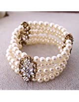 Pearl Multi-layer Elastic bracelet Bracelets Bangles for Women Jewelry For Girls Ladies By JewelQueen