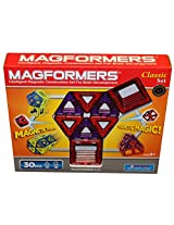 Magformers Classic 30 Piece Magnetic Construction Set (Red & Purple)