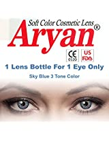 Aryan SkyBlue 3Tone Colour Yearly Contact Lens 1 Lens Pack By Visions India -0.00