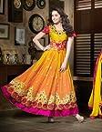 Shraddha Kapoor Yellow / Mustard Net Anarkali Suit - SUKHW1104