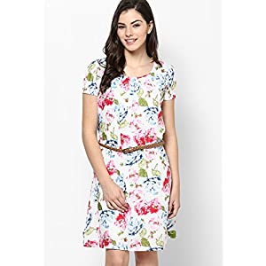 White Floral Print Cotton Dress With Pleated Neck And Braided Belt