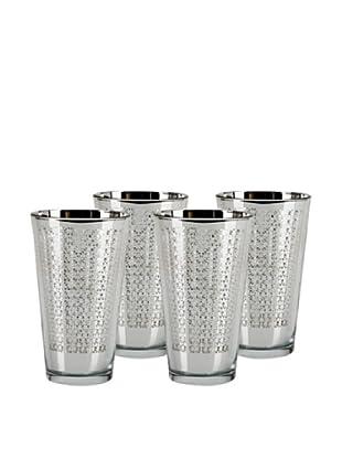 Impulse! Set of 4 Arabesque Highball Rocks Glasses, Silver