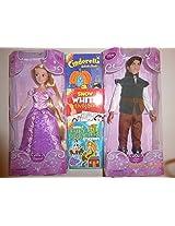 "Disney Classic 2 Doll Set 12""H (Rapunzel And Flynn Rider) Plus Book"