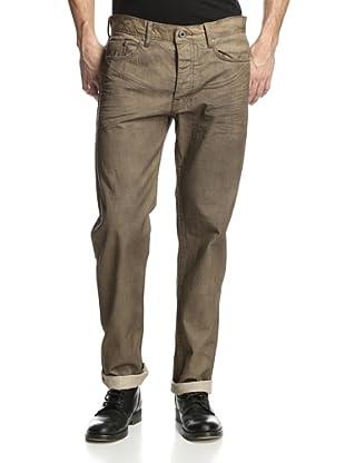 Denim & Leathers by Andrew Marc Men's Baked N Resin Straight Leg Jean (Tan)