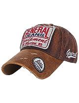 ililily Vintage Distressed Fashion Design Text Baseball Cap Trucker Hat Snapback Brown AD