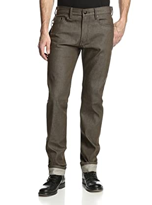 Denim & Leathers by Andrew Marc Men's Grunge Selvage Slim Fit Jean (Green)