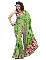 Surat Tex Green & Purple Manipuri Silk saree blouse pattern with Unstitched Blouse