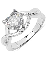 BridalMe Cubic Zirconia Silver Ring (JZR14722WCZ_SS)
