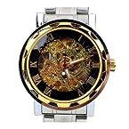 Omezzle Men's Magnificient Looking Black-Silver & Gold Skeleton Auto-Mechanical Watch