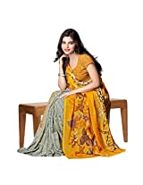 Aagaman Fashions Chiffon Saree (TSAMSKH1022_Yellow)
