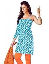 Lavis Women's Blue & Orange Pure Cotton Dress Material
