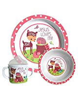 Grow in Grace-Melamine Dish Set-Fawn-Pink