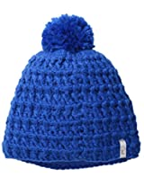 Coal Women's The Waffle Hand-Crocheted Waffle-Knit Beanie with Pom, Blue, One Size