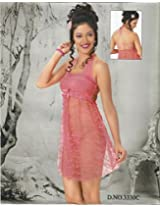 Odishabazaar Women's Silk Satin Nighty Overcoat Pink 2pc Set Sleepwear Nightwear Sexy Dress-Free Size
