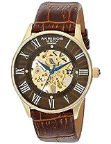 Akribos XXIV Men's AK499YG Bravura Slim Mechanical Leather Strap Watch