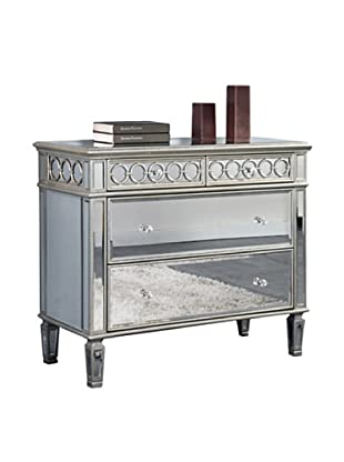 Audrey 2-Drawer Mirrored Cabinet, Silver Leaf