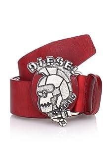 Diesel Men's Skullbuk Belt (Red)