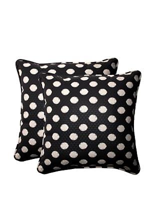 Set of 2 Outdoor Solar Spot Ebony Square Corded Toss Pillows (Black/Cream)