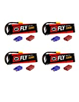 Venom Fly 50 C 3 S 2200m Ah 11.1 V Li Po Battery With Universal 2.0 Plug X4 Packs