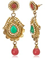 Tribal Zone Drop Earrings for Women (Golden and Multi-Color) (VDER009)