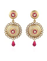 I Jewels Tradtional Gold Plated Handcrafted Kundan Earrings for Women(Rani/Dark Pink)(E2089Q)