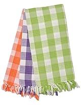 Viswalaya Fashion 135 GSM 3 Piece Cotton Bath Towel Set - Green, Orange & Violet