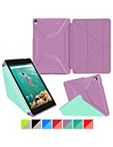 Google Nexus 9 Case, Nexus 9 Case, rooCASE Origami 3D Slim Fit Thin Lightweight Folding Leather PU Folio Cover Stand Auto Wake / Sleep Orchid Mint