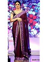 Sridevi wine color Designer Saree With Velvet Blouse