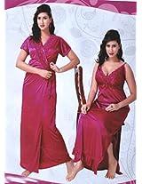 Indiatrendzs Womens Silk Satin 2pc set Nighty Baby Pink Sexy Evening wear freesize