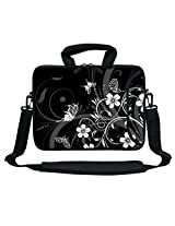 Meffort Inc 13 13.3 Inch Neoprene Laptop Bag Sleeve - Black White Flower Butterfly Design