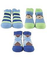 Luvable Friends 3-Piece Little Shoe Socks Gift Set, Blue with Monkey
