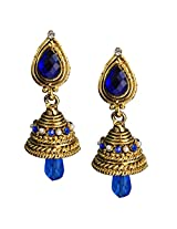 Beingwomen Elegant Blue Gold Plated With Stone Studed Fashion Alloy Jhumki Earring