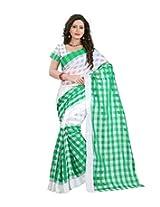 Green & White Color Cotton Silk Saree