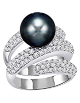 1.60ct Diamond Set In Black Tahitian Pearl Ring